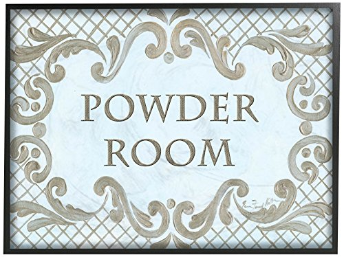 The Stupell Home Decor Collection Powder Room Aqua and Gold Lattice Bathroom Wall Plaque 11