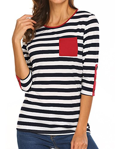 (Sweetnight Women's Casual 3/4 Sleeve Shirts Stripe Tees Round Neck Tops (Black, XXL))