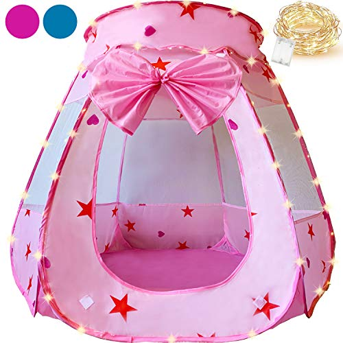 KingBee Pink Princess Pop Up Play Tent with Lights, Toys Gifts for Kids Girls Boys Toddlers Baby 1 2 3 4 5 6 12 18 Months Year Old, Easy Pop Up No Assembly Required, Indoor Outdoor Use