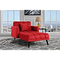 Sofamania Modern Velvet Fabric Recliner Sleeper Chaise Lounge - Futon Sleeper Single Seater Nailhead Trim (Red)