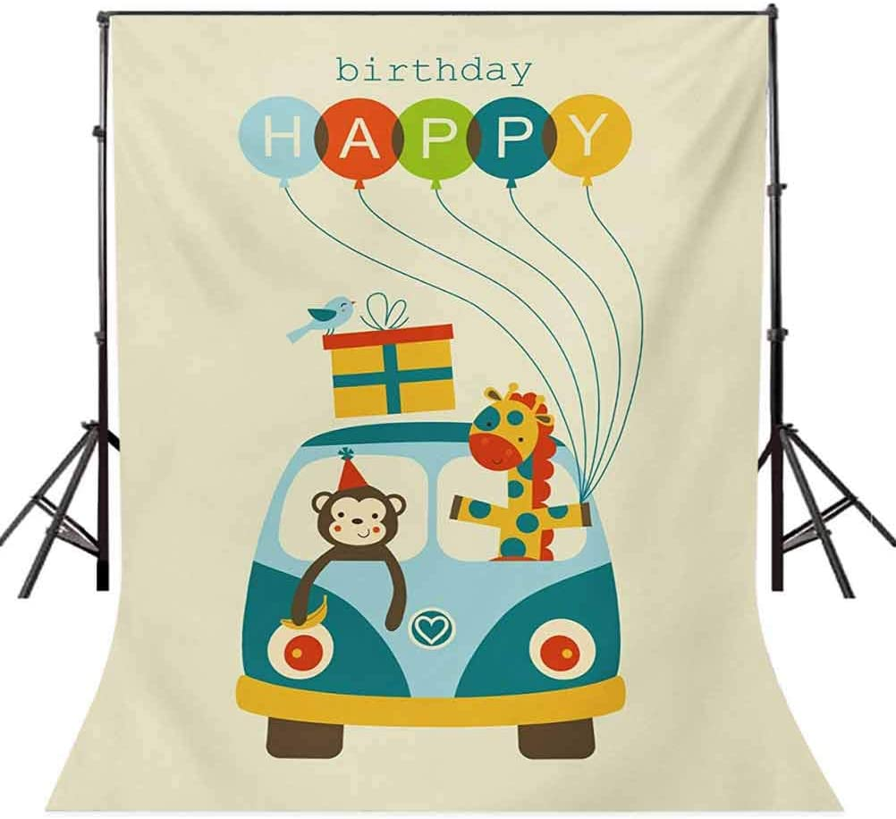 Blue Hippie Bus with Monkeys Giraffes Balloons Surprise Box Artwork Print Background for Photography Kids Adult Photo Booth Video Shoot Vinyl Studio Props Kids Birthday 6x8 FT Photography Backdrop