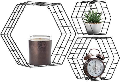 Sorbus Floating Hexagon Shelves - Wall-Mounted Geometric Metal Wall Décor for Photos (Metal Hexagon - ()