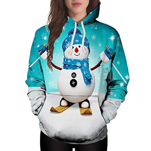 (HOSOME Women Christmas Hoodie Cartoon Snowman Print Sweatshirt Pullover Pocket Tops)