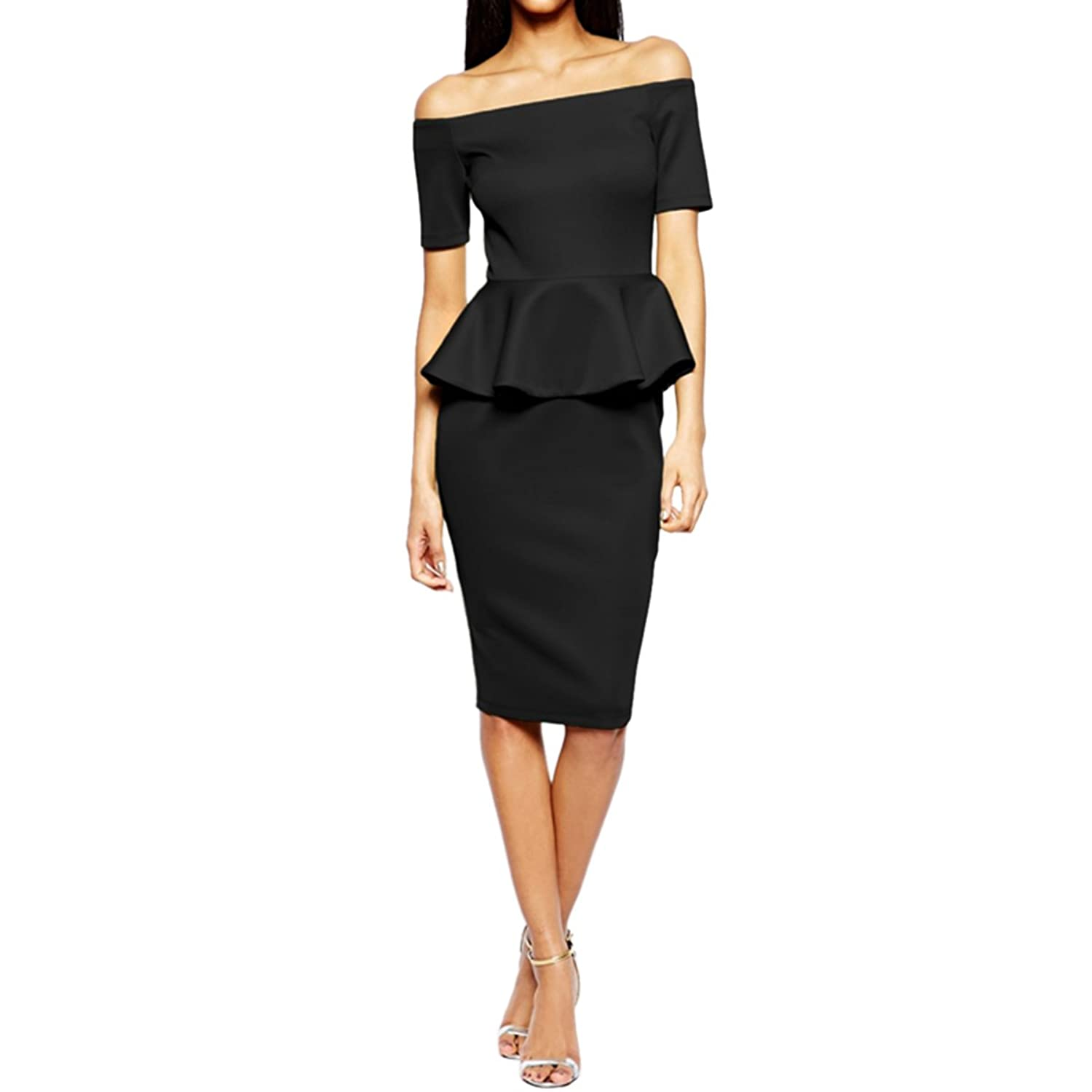 Sue&Joe Women's Off the Shoulder Dress Peplum Short Sleeve Midi Pencil Dresses