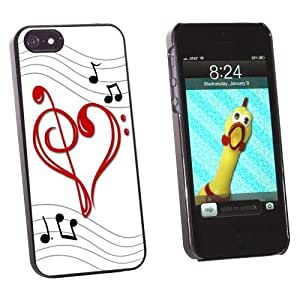 Graphics and More Music Heart - Love Treble Bass Clef Notes Staff Snap-On Hard Protective Case for Apple iPhone 6 plus 5.5 - Non-Retail Packaging - Black