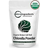 Micro Ingredients Organic Chlorella Powder, 8 Ounce, Best Superfoods for Rich Vitamins, Proteins & Chlorophyll. Non-Irradiated, Non-Contaminated, Non-GMO and Vegan Friendly.