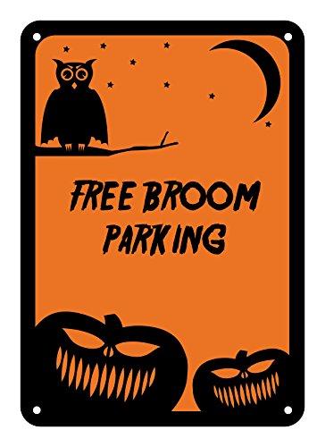"Reflective Aluminum Halloween Sign ""Free Broom Parking"" 10"" x 14"" (HW-0295-RA)"