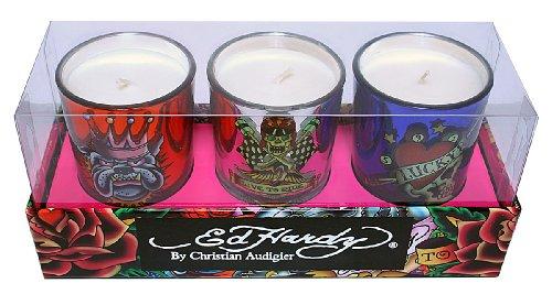 Ed Hardy Candle 3-Pack Votive Glass Gift Set, Skull Pool/Live Ride/Kingdog