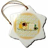 3dRose Beverly Turner Design - Enjoying Everyday Life, Sunshine, Sunflower, Bow, Flag, Butterfly - 3 inch Snowflake Porcelain Ornament (orn_280582_1)
