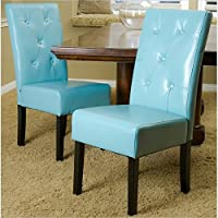 Noble House Renoir Dining Chair in Teal Blue (Set of 2)