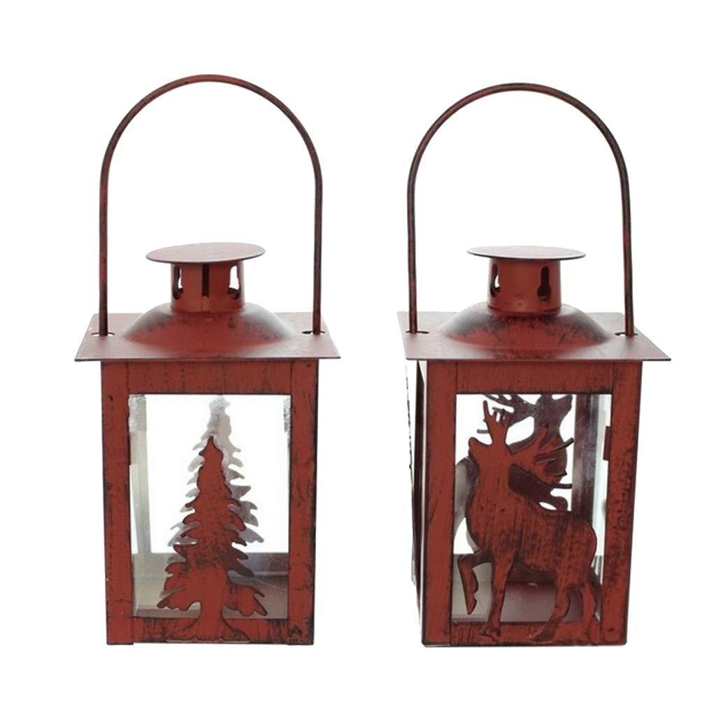 B Blesiya 2x Tealight Candle Holder Cage Hanging Lanterns Wedding Home Christmas Decor
