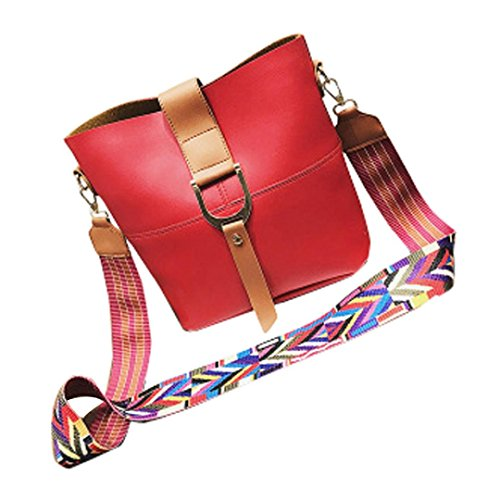 Shoulder Red Hunpta Handbag Strap Fashion Bucket Leather Bag Women Wide rZrYzq