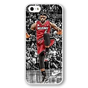 UniqueBox - Customized Personalized White Hard Plastic iPhone 5/5S Case, NBA Superstar Cleveland Cavaliers Lebron James iPhone 5/5S Case, Only Fit iPhone 5/5S Case