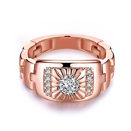 AnaZoz Fashion Rings, Rose Gold Plated Delicate Women Cubic Zirconia Wedding Ring Band Size ()