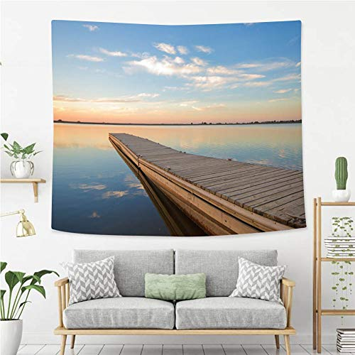 BEIVIVI Colorful Art Design Tapestry Fishing Dock on a Lake at Sunrise with Clouds Tapestry, Living Room Bedroom Decoration Tapestry, Mattress, Tablecloth ()