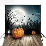 Photography Bbackdrop Wood Floor 5x7 Photo Background Backdrop Halloween Theme Black Forest Large Moon Photo Background for Kids