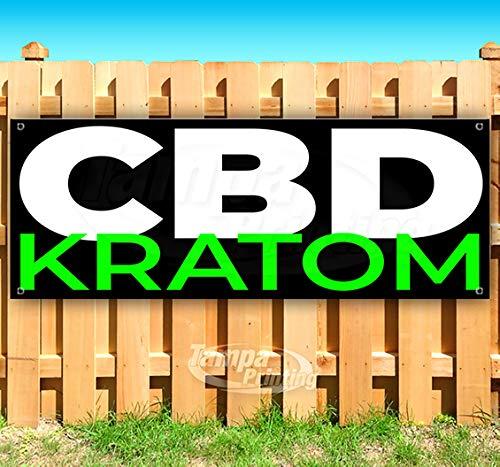 Image Lrg (CBD KRATOM 13 oz Heavy Duty Vinyl Banner Sign with Metal Grommets, New, Store, Advertising, Flag, (Many Sizes Available))