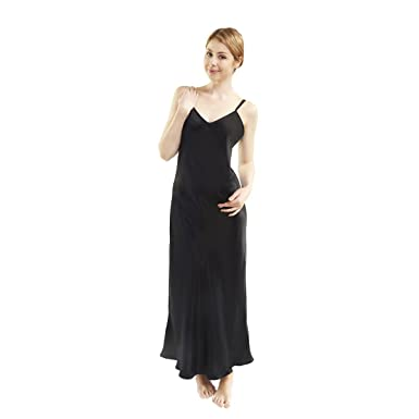 67ca4c02fdf LUXUER Women s Sleep Dress Handmade Pure Mulberry Silk Low-Back Nightgown  Luxury Small Black