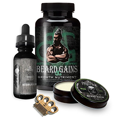 Beard Gains Growth Vitamin Pills Bundle Kit - Growing a Faster Thicker Better Beard, Fill in Patchy Hairs - Biotin Supplement, Oil, Balm Butter and Wooden Micro Beard Mustache Comb (Growth Kits, 30ct)
