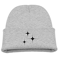 Engchengx Black And White And The Four Star Children's Knit Cap Ash