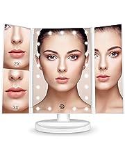 Espejo Maquillaje con Luz,[Regalo ] BESTOPE 21 LEDS Espejo Cosmético, Pantalla Táctil Ajusta luz, Tríptica Aumentos 1x, 2x, 3x, Rotación Ajustable de 180 °, Fuente de Alimentación Doble