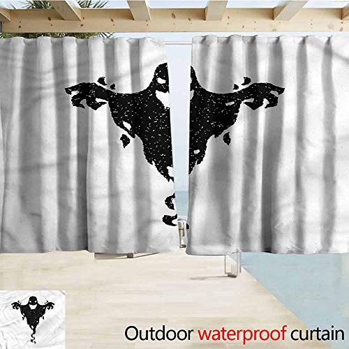 MaryMunger Exterior/Outside Curtains Scary Halloween Black Ghost Spooky Darkening Thermal Insulated Blackout W63x63L Inches]()