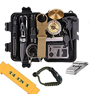 Emergency Survival Kit 14 in 1, Professional Outdoor Tools and Gear Kit for Camping, Traveling, Hiking, Biking, Climbing, Hunting by Shenzhen Sicily Technology Co.,Ltd