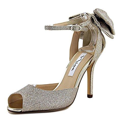 Nina Womens Slingback Shoes - Nina Womens Martina ys Open Toe Slingback D-Orsay Pumps, Soft Silver, Size 8.0
