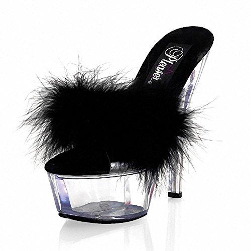 SYYAN Damen Sommer Wasserdichtes Ultrafein hoher verfolgter Art und Weise Kristall Bottom Dekoration Diskothek Plüsch Sandalen , black , 36