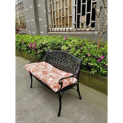 Raclvay Outdoor Bench Cushion, 45 x 18 inches, Slipproof Straps, Fixed Firmly, Full-Filled, Comfortable Sitting (Browm) : Garden & Outdoor