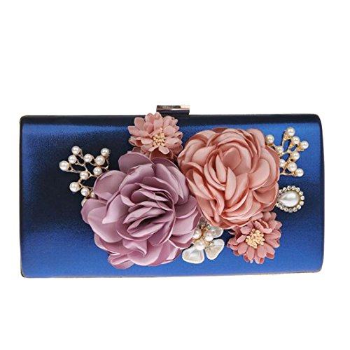 EPLAZA Women Large Capacity Flora Evening Party Bags Clutch Purse Vintage Wedding Handbags Wallet (blue)