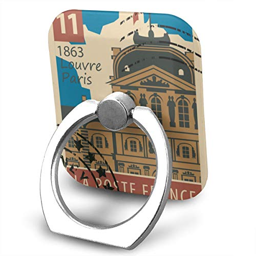 - Stamp with Paris Louvre Phone Ring Stand Holder Metal Finger Grip Stand Holder Ring,Car Mount 360°Rotation Phone Ring Grip for Samsung Galaxy iPhone Tablet PC Smartphone Phone Ring Stent (Square)