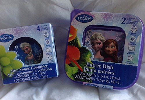 Disney Square Storage - Purple Disney Frozen Food Container Set. Two 11.5 oz Square Containers With Lids and Four 4 oz Mini Round Containers