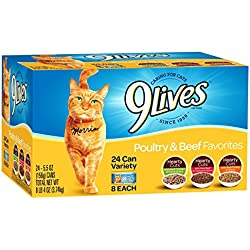 9 Lives Poultry And Beef Variety Pack, 5.5 Oz Cans, 24-Count