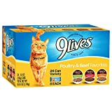 9 Lives Poultry and Beef Variety Pack, 5.5 oz cans, 24-Count (Misc.)