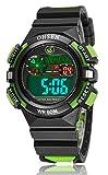 Girl Boy Children Digital Sport Alarm Chronograph LED Back Light Date Waterproof Student Rubber Watch (Green)