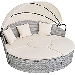tectake 800718 Poly Rattan Daybed with Foldable Canopy