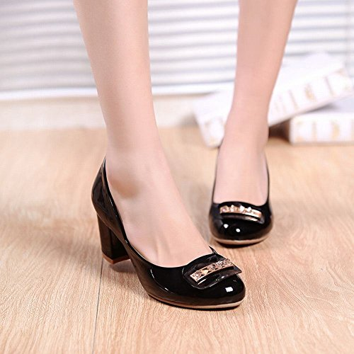Rhinestones Pumps Heel Black Chunky Womens Casual Fashion Mid Shoes Dress Latasa AwqFpE8w