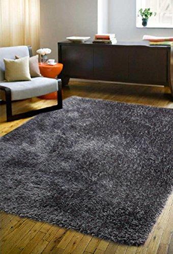 La Rug Linens Shimmer Shag Dark Gray Solid Modern Luster