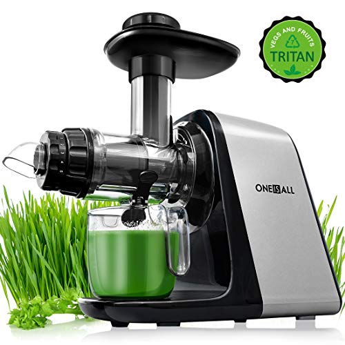 Juicer Machines, Oneisall Slow Masticating Juicer Extractor Easy to Clean, Tritan & BPA-Free, Anti-Drip and 5 Mode Adjustment, Cold Press Juicer with Quiet Motor, Recipes for Vegetables and Fruits
