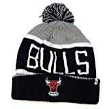 NBA Chicago Bulls '47 Brand Calgary Cuff Knit Hat with Pom, One Size, Gray
