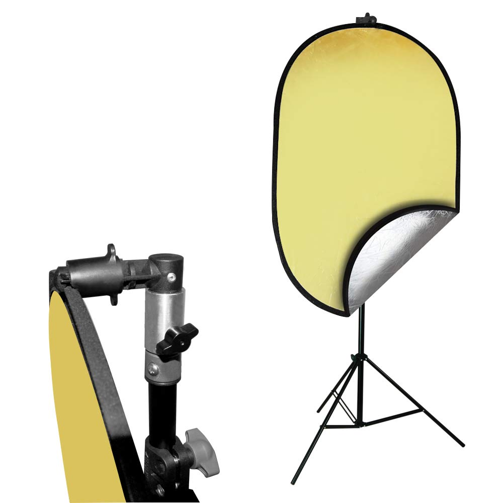 Julius Studio Photo Video Studio 24''x36'' Gold/Silver Disc Reflector with Disc Holder Clip for Light Stand, JSAG467