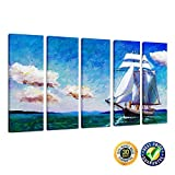 Creative Art- Giclee Canvas Print - Paciffic Ocean Wave Seascape Sea Sailling Ship Modern Oil Painting Printing on Canvas Wall Art Home Decoration,Canvas Set of 5 Ready to Hang