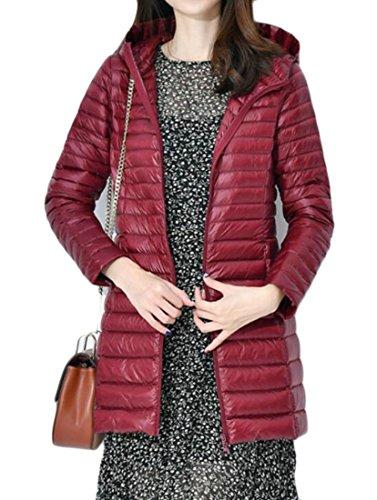 Coats Puffer Hoodies Lightweight Women's Wine Zipper Down Red Solid Jackets MU2M wxqIXptYt