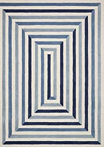 "Now House by Jonathan Adler Maze Collection Area Rug, 2'3"" x 3'9"", Ivory and Blue"