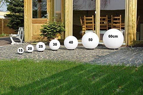 Exterior 230V /& 23W 30cm /&40cm /Ø Bolas para bajo Consumo E27 /& LED Interior/&Exterior con IP44 Iluminaci/ón Jard/ín 20cm L/ámparas Redondas Juego de 3 Blanco Jard/ín