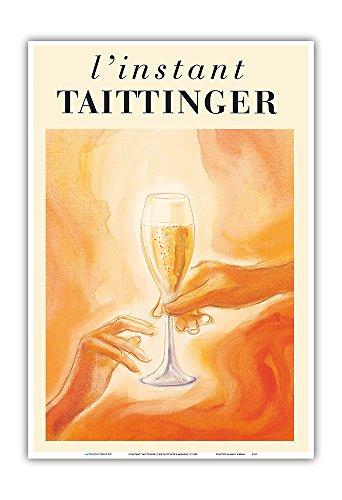 Pacifica Island Art L'Instant Taittinger (The Taittinger Moment) - Champagne Glass - Vintage Advertising Poster c.1980 - Master Art Print - 13in x ()