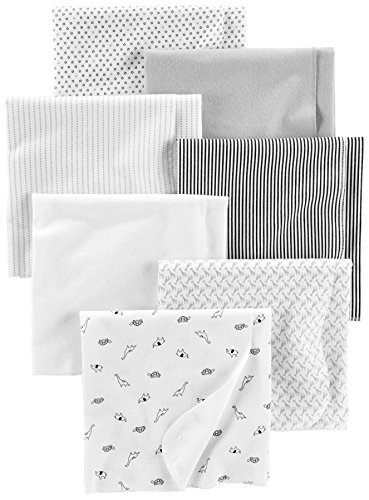 Simple Joys by Carter's Baby Unisex 7-Pack Flannel Receiving Blankets, Gray/White/Black, One Size (Flannel Label)