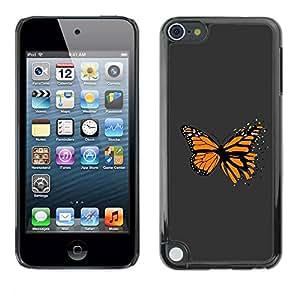 PC/Aluminum Funda Carcasa protectora para Apple iPod Touch 5 Awesome Orange Butterfly / JUSTGO PHONE PROTECTOR