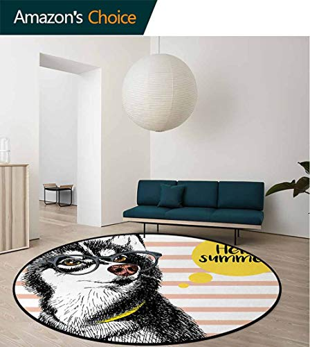 Alaskan Malamute Modern Machine Washable Round Bath Mat,Retro Design Cute Hipster Husky With Glasses Saying Hello Sketch Artwork Non-Slip Living Room Soft Floor Mat Round-51 Inch,Multicolor ()